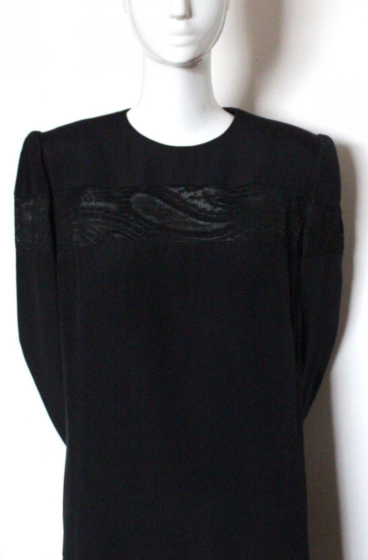 Andre Laug Haute Couture Silk & Lace Dress ca.1980's - 2