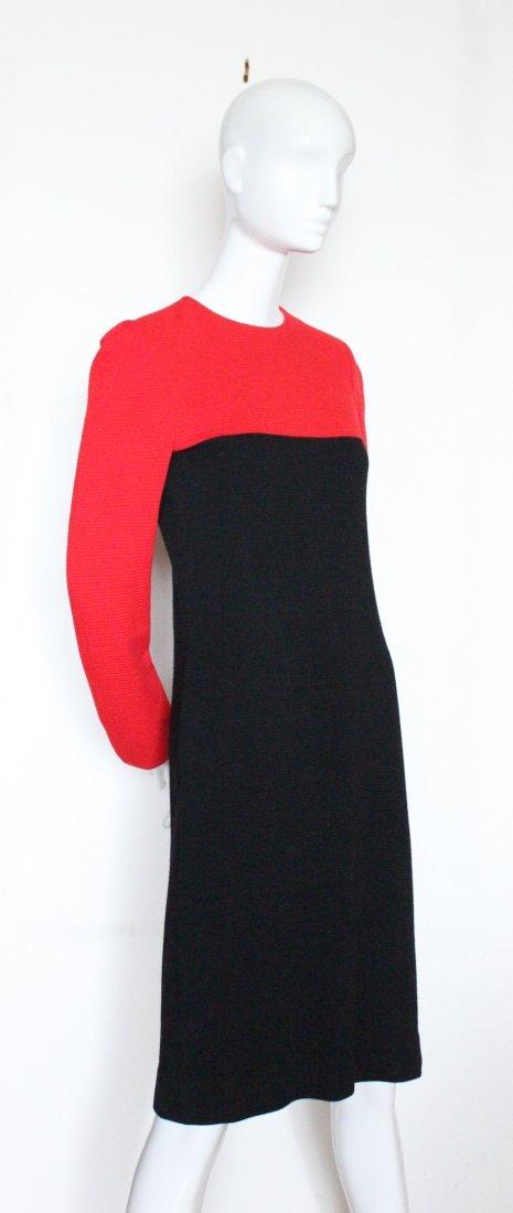 Halston Red & Black Wool Jersey Dress, ca. early 1980's