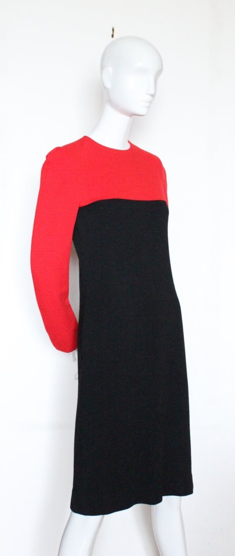 Halston Red & Black Wool Jersey Dress, ca. early 1980's