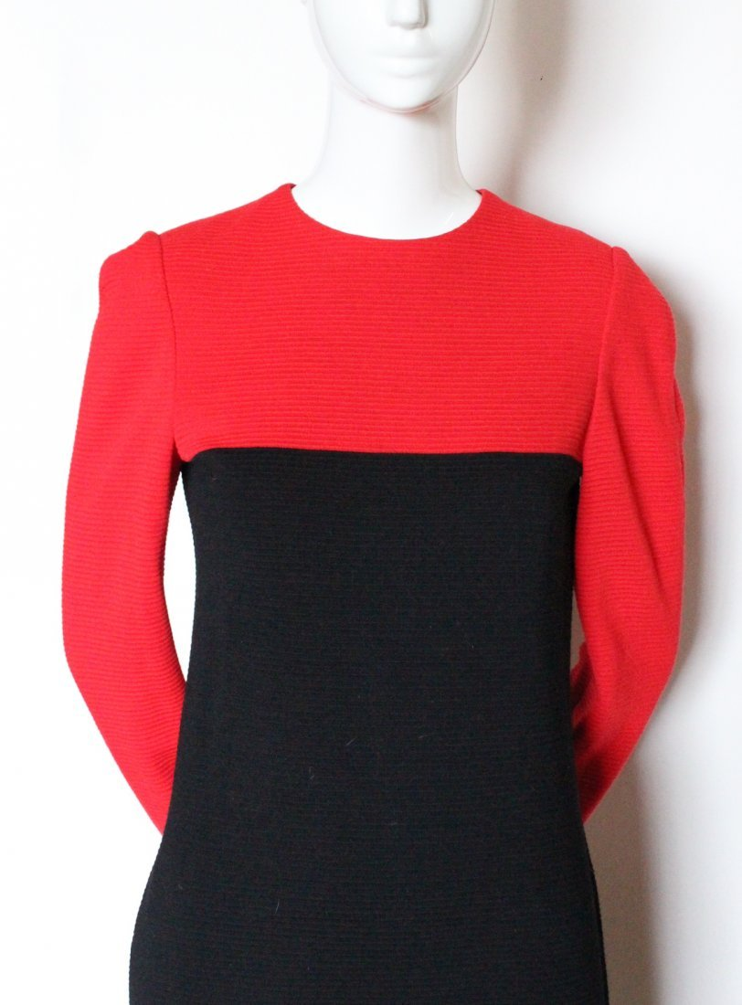 Halston Red & Black Wool Jersey Dress, ca. early 1980's - 2
