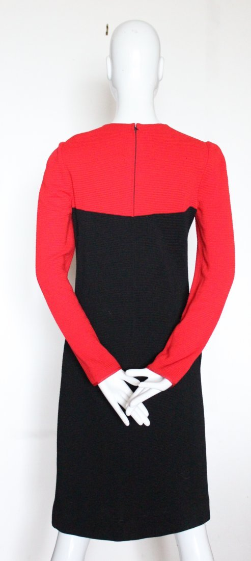 Halston Red & Black Wool Jersey Dress, ca. early 1980's - 3