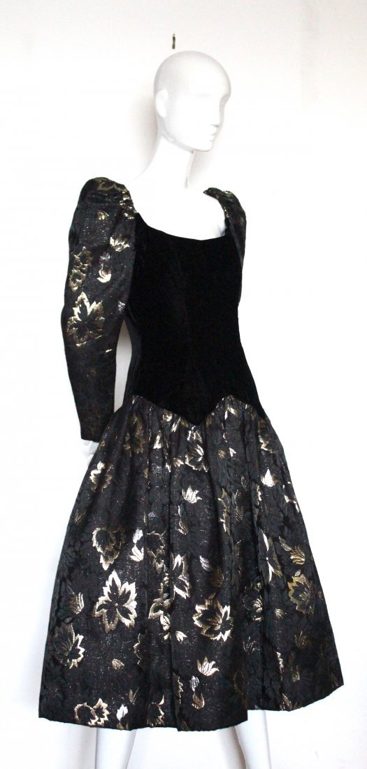 Victor Costa Velvet & Brocade Evening Dress, 1980's