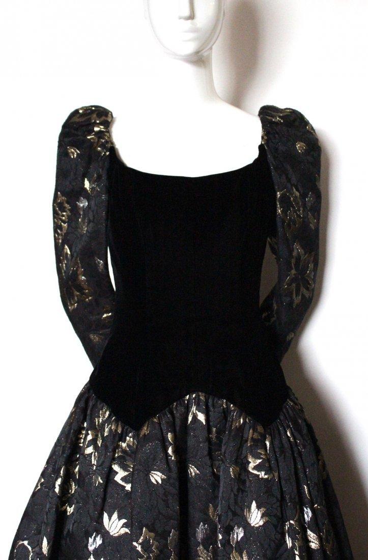 Victor Costa Velvet & Brocade Evening Dress, 1980's - 2