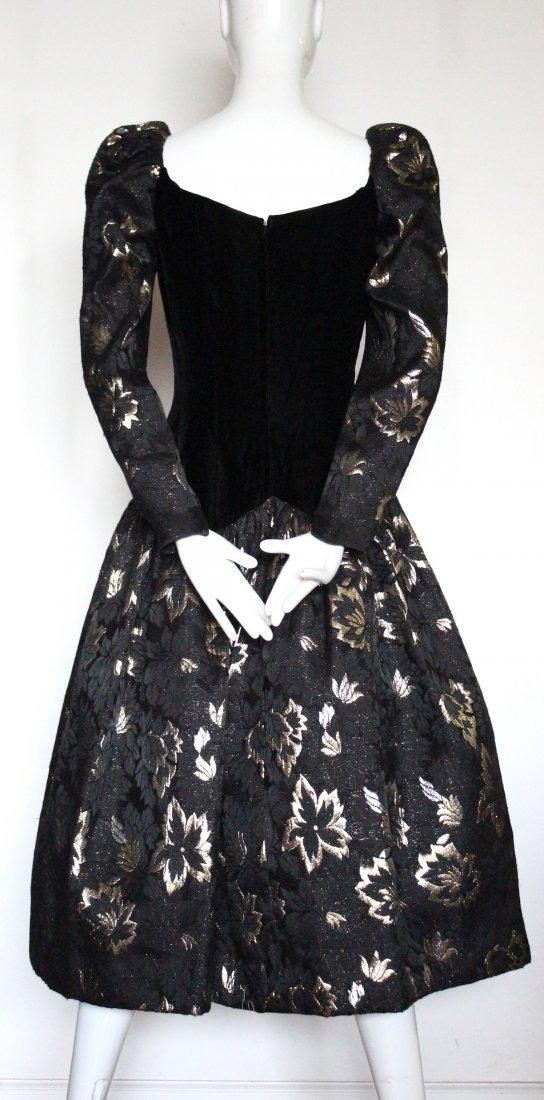 Victor Costa Velvet & Brocade Evening Dress, 1980's - 3