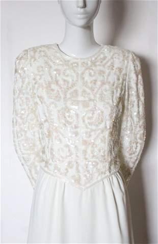 Ted Lapidus Paris Embroidered White Dress ca1980s