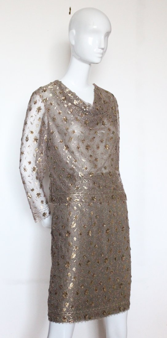 Bill Blass Embroidered Metallic Lace Suit, ca. 1990's