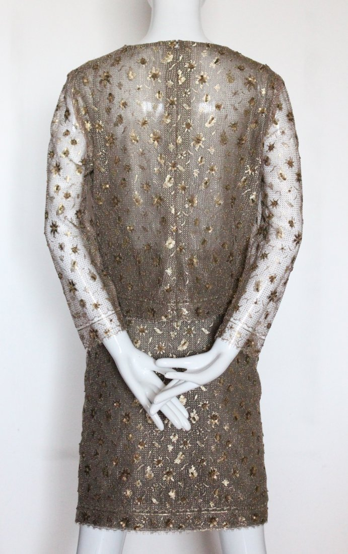 Bill Blass Embroidered Metallic Lace Suit, ca. 1990's - 3