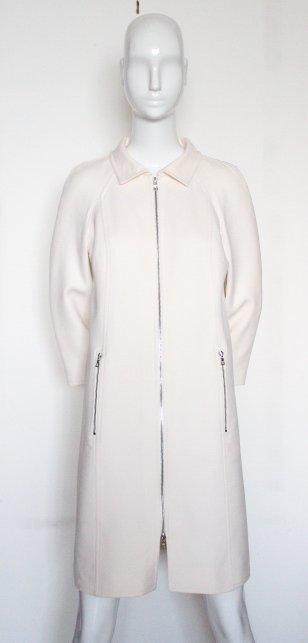 Courreges Paris Beige Wool Coat, ca. 2000's