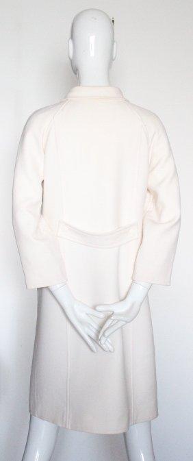 Courreges Paris Beige Wool Coat, ca. 2000's - 4