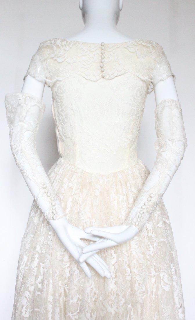 Hattie Carnegie Lace Wedding Dress, ca. early 1940's - 4
