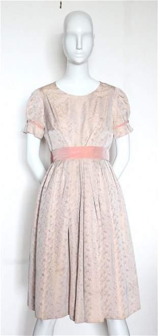 Custom Made Damask Fabric Dress ca 1950s