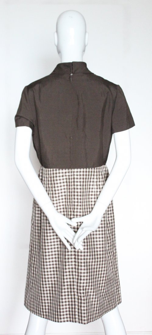 Bill Blass Brown & Beige Gingham Silk Dress, ca. 1970's - 3