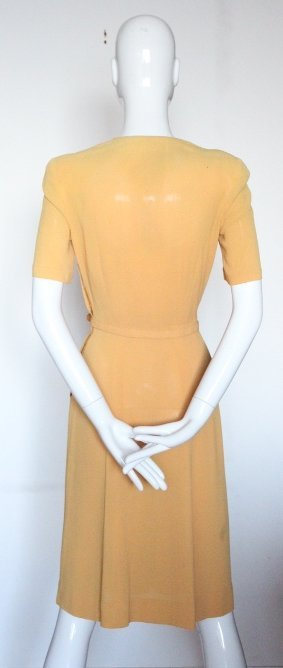 Bonwit Teller Embroidered Yellow Crepe Dress, ca.1940's - 3