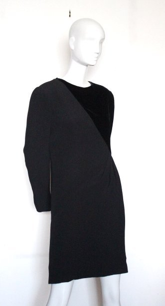 Bill Blass Couture Silk Crepe & Velvet Dress, ca.1980's