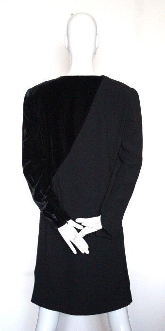 Bill Blass Couture Silk Crepe & Velvet Dress, ca.1980's - 2