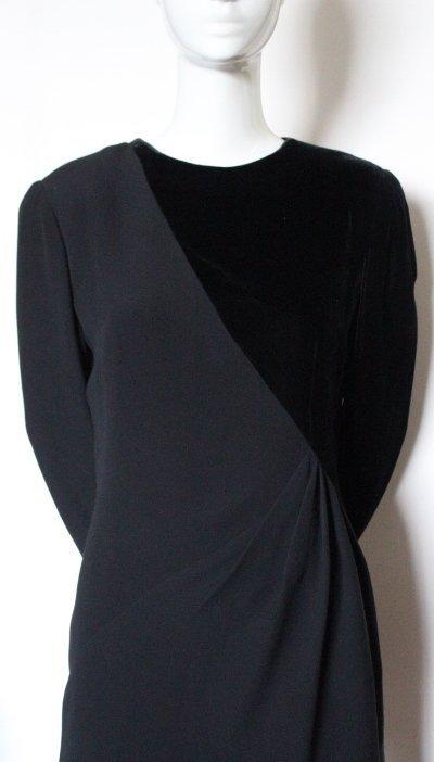 Bill Blass Couture Silk Crepe & Velvet Dress, ca.1980's - 3