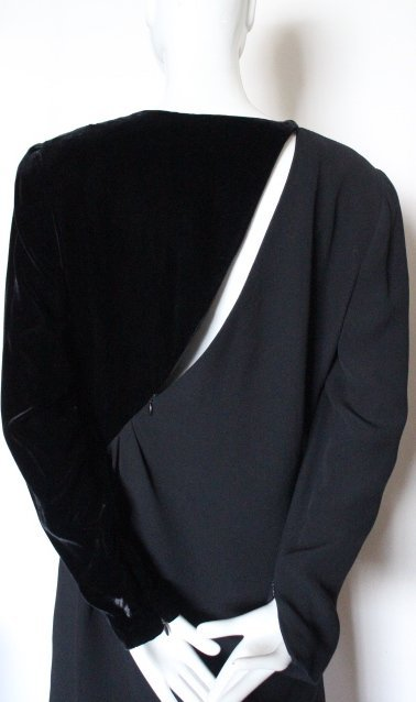Bill Blass Couture Silk Crepe & Velvet Dress, ca.1980's - 4