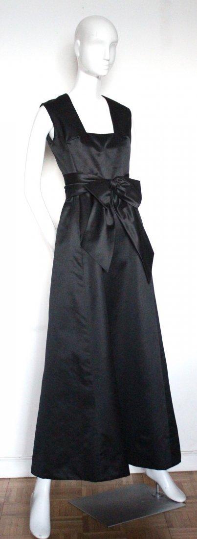 Oscar De La Renta Black Satin Evening Gown, ca. 1960's