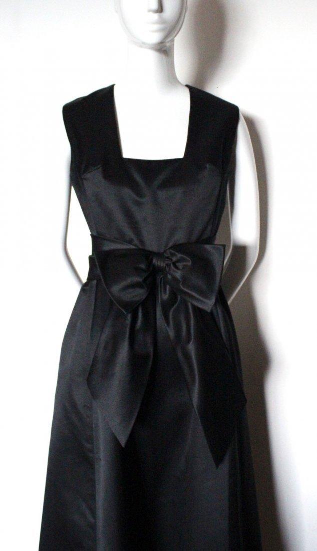 Oscar De La Renta Black Satin Evening Gown, ca. 1960's - 2