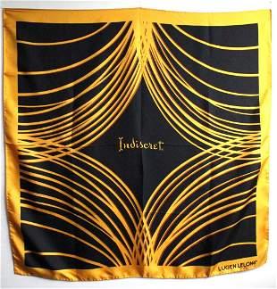 Lucien Lelong Yellow Black Silk Scarf ca1960s