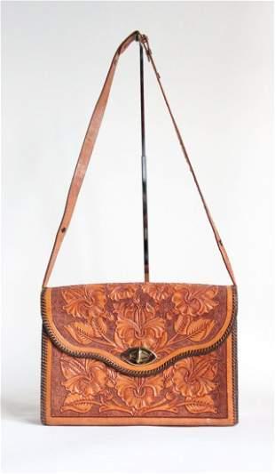 Hand Tooled Leather Shoulder Bag ca1970s