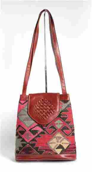 Turkish Kilim Leather Shoulder Bag ca 1980s