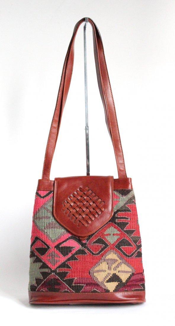 Turkish Kilim & Leather Shoulder Bag, ca. 1980's