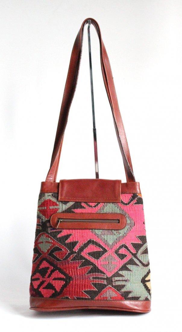 Turkish Kilim & Leather Shoulder Bag, ca. 1980's - 2