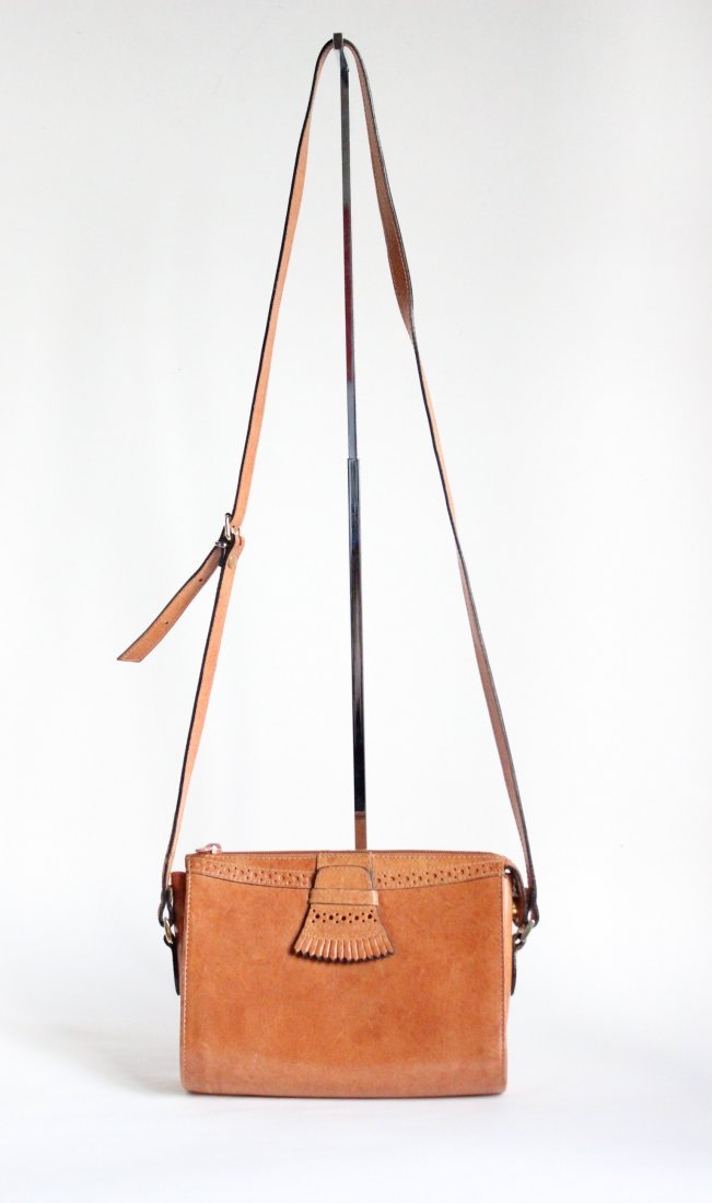 Perry Ellis Portfolio Leather Shoulder Bag ca.1980s-90s