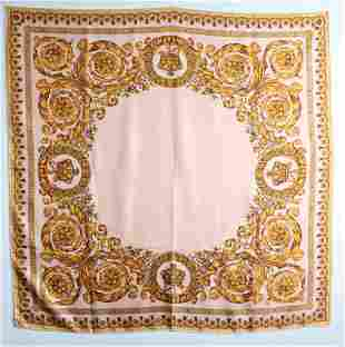 Yellow Baroque Style Print Silk Twill Scarf ca 1990s
