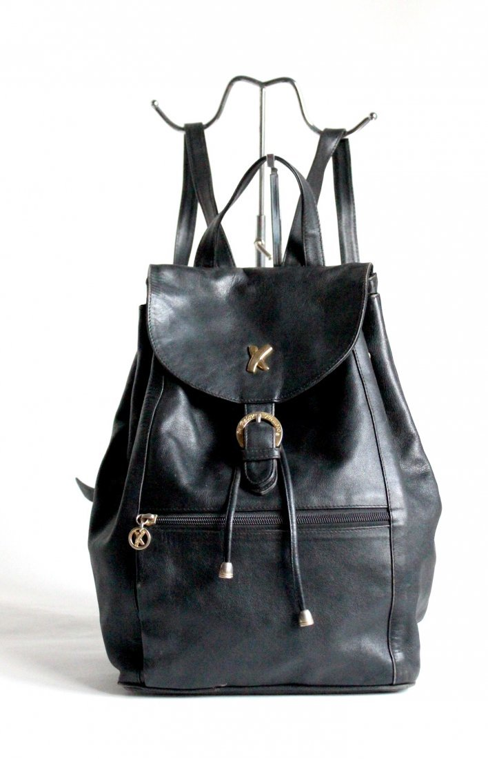 Paloma Picasso Black Leather Backpack, ca. 1980's
