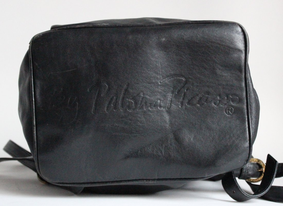 Paloma Picasso Black Leather Backpack, ca. 1980's - 3