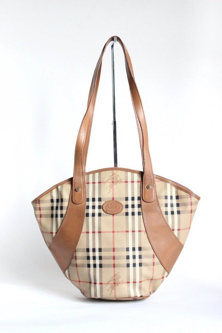 Burberry's Haymarket Canvas Shoulder Bag, 1990's