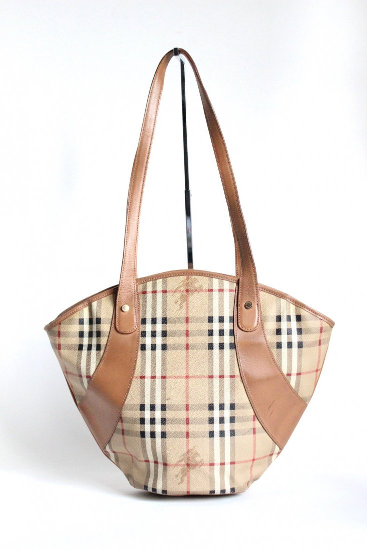 Burberry's Haymarket Canvas Shoulder Bag, 1990's - 2