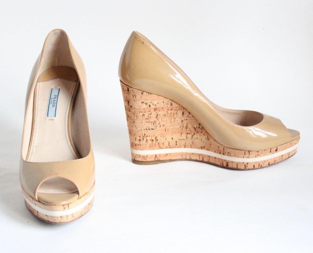 Prada Cork Platform Heel Open Toe Pumps, 2000's