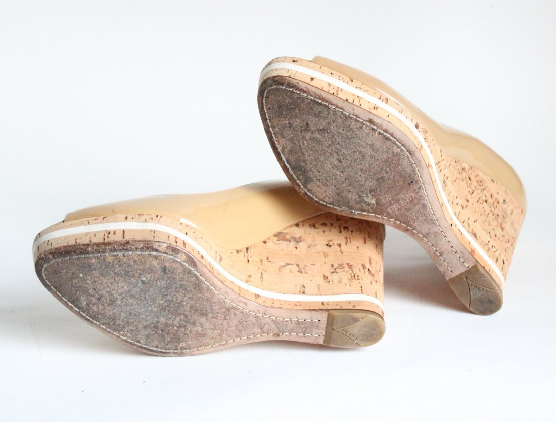 Prada Cork Platform Heel Open Toe Pumps, 2000's - 3