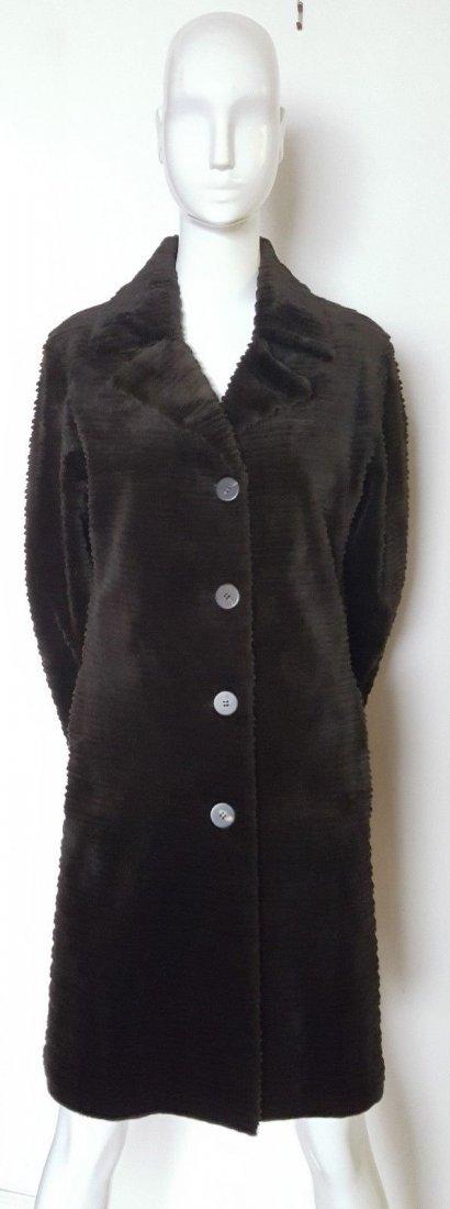 Fendi Alta Moda Couture Striped Sheared Mink Fur Coat