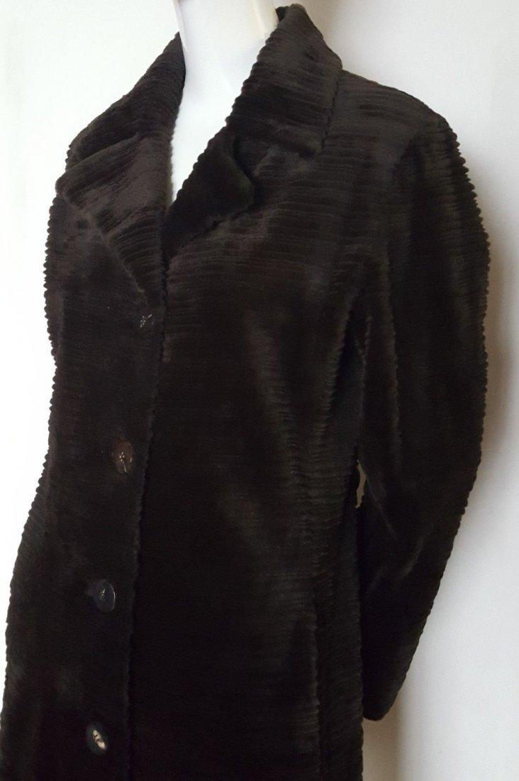 Fendi Alta Moda Couture Striped Sheared Mink Fur Coat - 2