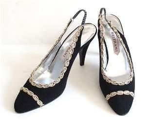 Beltrami Italian Couture Black Suede Sandals ca 1960s