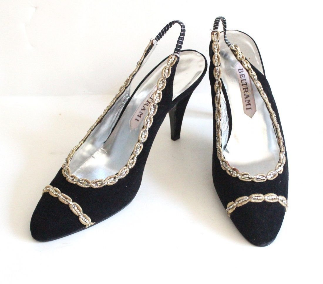 Beltrami Italian Couture Black Suede Sandals, ca. 1960s