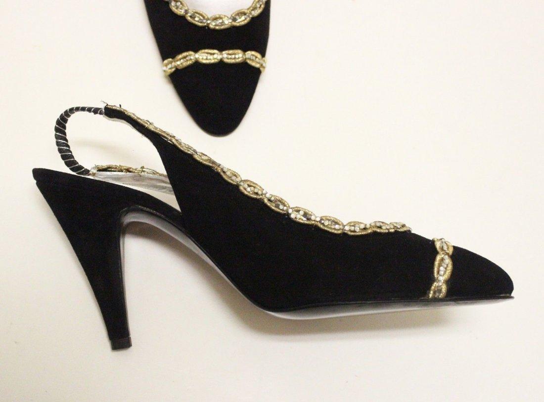 Beltrami Italian Couture Black Suede Sandals, ca. 1960s - 2