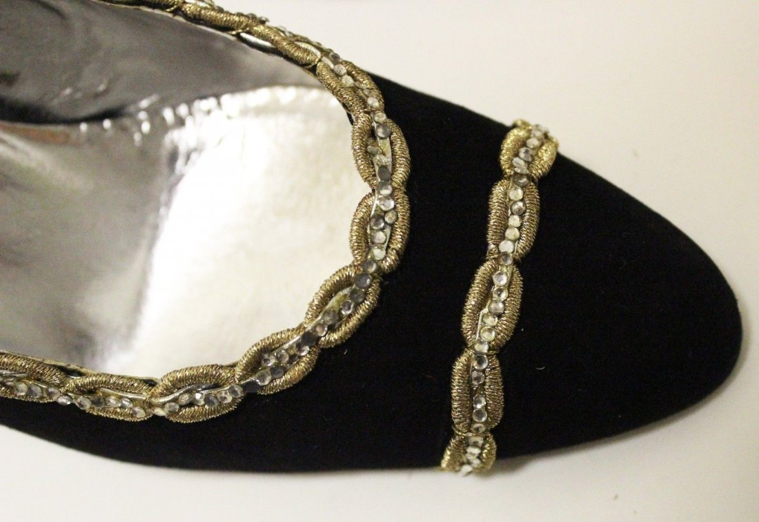 Beltrami Italian Couture Black Suede Sandals, ca. 1960s - 5