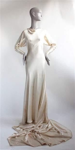 Bias Cut Ivory Satin Wedding Ensemble, ca. 1933-35