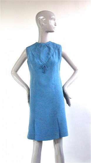French Couture Blue Silk Shantung Dress ca 1960s