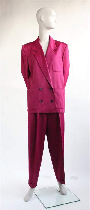 Calvin Klein Garnet Wool Satin Pant Suit early 1980s