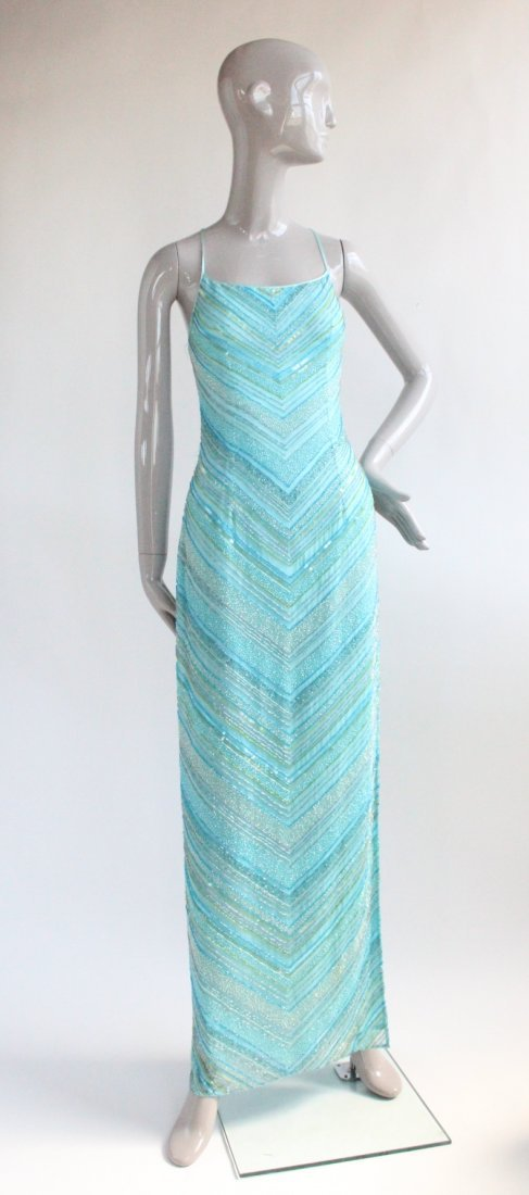 Cache Heavy Beaded Blue Silk Dress, ca. 1990's