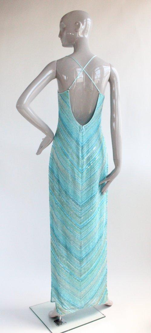 Cache Heavy Beaded Blue Silk Dress, ca. 1990's - 2