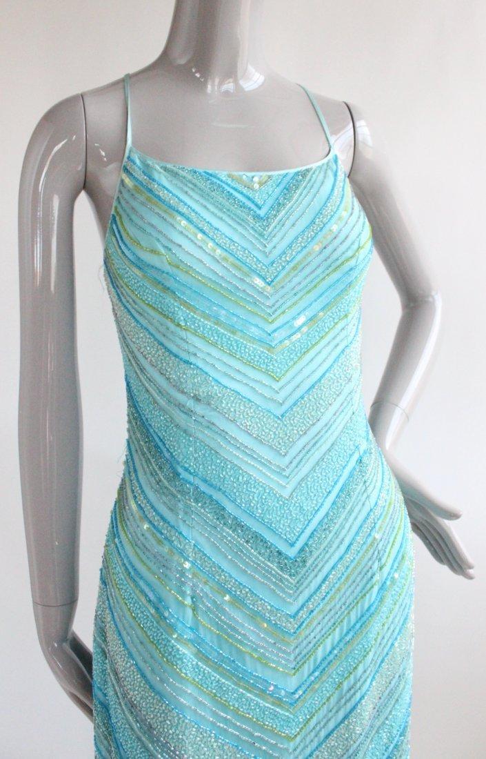 Cache Heavy Beaded Blue Silk Dress, ca. 1990's - 3