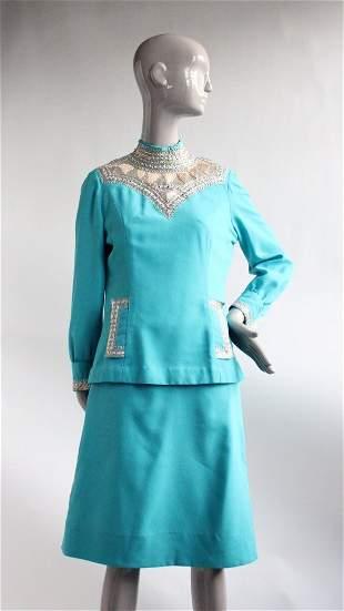 Soutache Embroidered Custom Made Blue Dress ca1970s