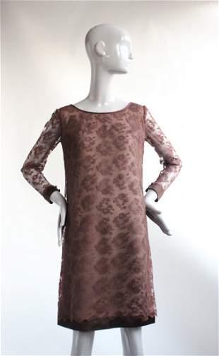 Leslie Fay Original Brown Lace Dress ca 1960s